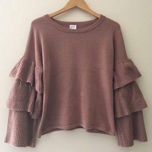 Cupio Ruffle Bell Sleeve Sweater